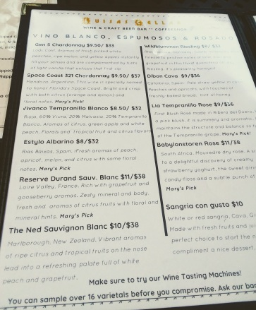 Luisa's Cellar White Wine List Nov. 2018